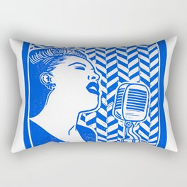Lady Day (Billie Holiday block print) Rectangular Pillow