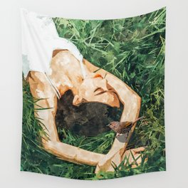 Jungle Vacay #painting #portrait Wall Tapestry