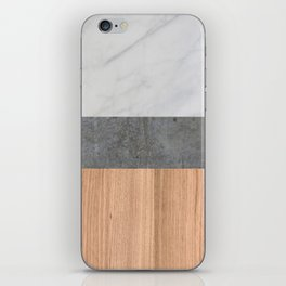 Carrara Marble, Concrete, and Teak Wood Abstract iPhone Skin