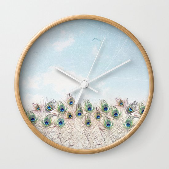 Fly Over A Peacock Field Wall Clock