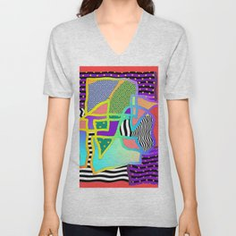 ABSTRACT+LINES+DOTS WITH A WIGGLE Unisex V-Neck