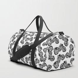 Motorcycle Linocut Block Print Duffle Bag