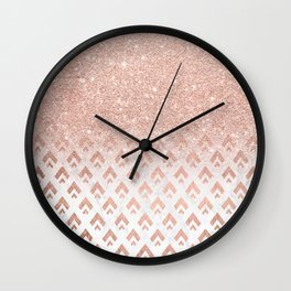 Faux rose gold glitter ombre rose gold foil triangles chevron geometric on white marble Wall Clock