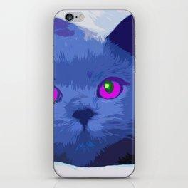 Pop art blue cat iPhone Skin