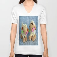 silence of the lambs V-neck T-shirts featuring Little Lambs by Frankie Cat