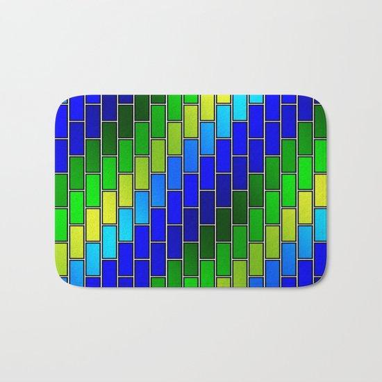 BRICK WALL #2 (Blues, Greens & Yellows) Bath Mat