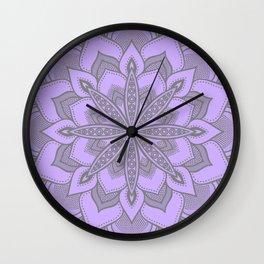 Purple Gray Flower Mandala Wall Clock