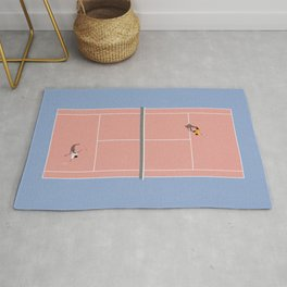 Playing Tennis | Pastel Colors Tennis Court  Rug