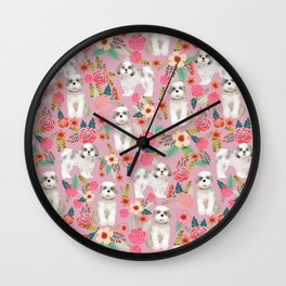 Shih Tzu florals love gift for dog person pet friendly portrait dog breeds unique small puppy Wall Clock
