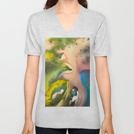 River watercolor abstraction painting Unisex V-Neck