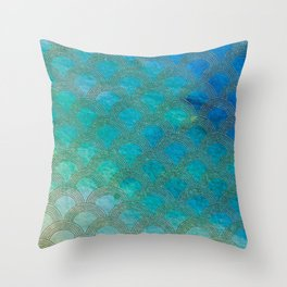 Sea Ocean Waves effect- Gold and Aqua Scales Pattern Throw Pillow