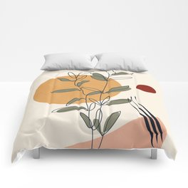 Minimal Line Young Leaves Comforters