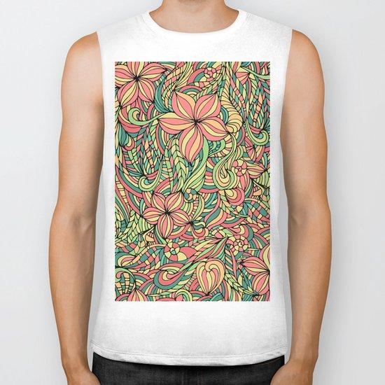 Floral delicate pattern Biker Tank