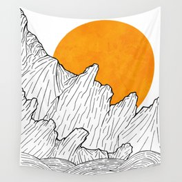 The great sun over the sea cliffs Wall Tapestry