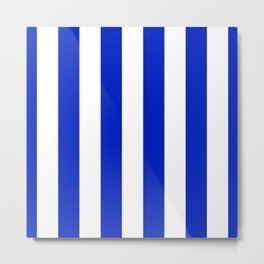 Cobalt Blue and White Wide Circus Tent Stripe Metal Print