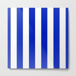 Cobalt Blue and White Wide Circus Tent Stripe Metal Print