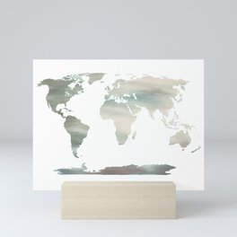 Watercolor Map of World 3 Mini Art Print