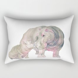 Mom and Baby Hippo Rectangular Pillow
