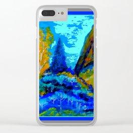 Western Golden Aspens Blue Mountain Landscape Art Clear iPhone Case