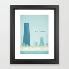 Vintage Chicago Travel Poster Framed Art Print
