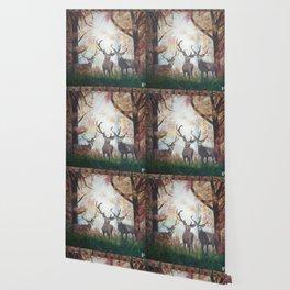 Morning Deer Border Wallpaper