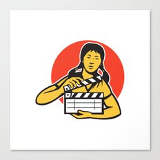asiian woman girl with movie clapboard Canvas Print