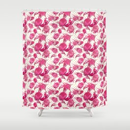 Beautiful Pink Australian Native Flowers on Gold Polka Dots - Protea, Grevillea, Eucalyptus Shower Curtain