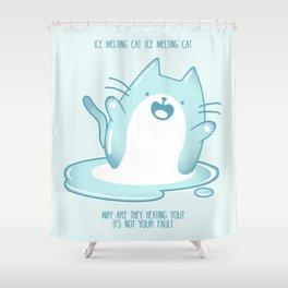 Kawaii Ice melting cat Shower Curtain