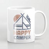 backpack Mugs featuring Happy Camper by Zeke Tucker