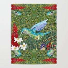 Hummingbird Garden Poster