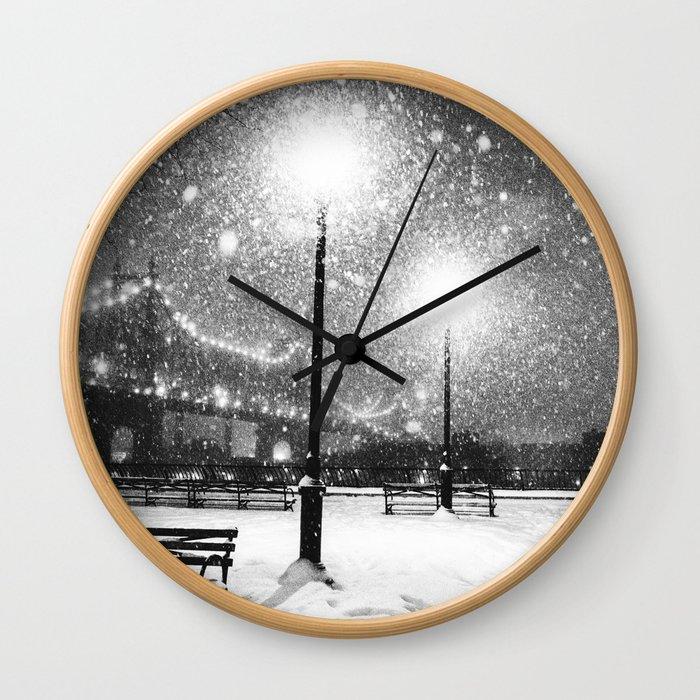 New York City Night Snow Wall Clock