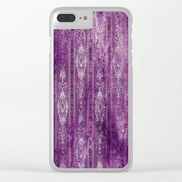 Damask - Aged - Purples - Boho - White - Brutalized Art Clear iPhone Case