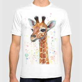 Giraffe Baby Animal Watercolor Whimsical Nursery Animals T-shirt