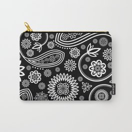 Oriental Persian Paisley, Dots - Black White Carry-All Pouch