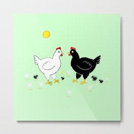 Family Hen Metal Print
