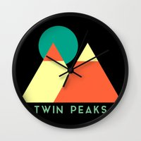 twin peaks Wall Clocks featuring Twin Peaks by Victor Velocity