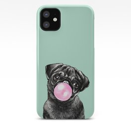 Bubble Gum Black Pug in Green iPhone Case