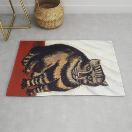 Henri Russeau, Tabby 1963, Naive Cat Artwork for Wall Art, Prints, Posters, Tshirts, Men, Women, You Rug