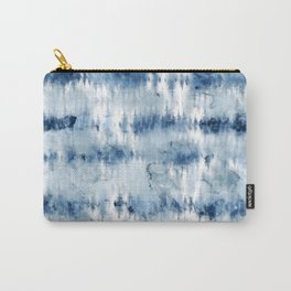 Modern hand painted dark blue tie dye batik watercolor Carry-All Pouch