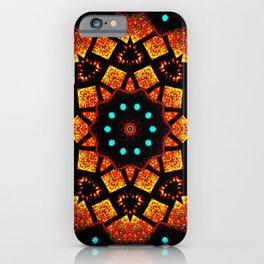 Bright Red Orange Mosaic Kaleidoscope Mandala iPhone Case