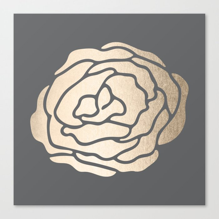 Rose in White Gold Sands on Storm Gray Canvas Print