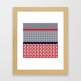 Japanese Style Ethnic Quilt Blue and Red Framed Art Print