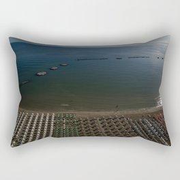 cesenatico umbrellas Mediterranean aerial shot sunrise blue horizon beach italy tourism view drone Rectangular Pillow