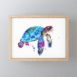 Sea Turtle, Blue Purple Turtle illustration, Sea Turtle design Framed Mini Art Print