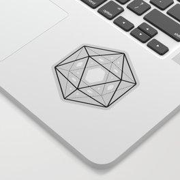 Icosahedron Soft Grey Sticker