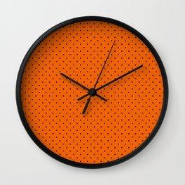 Bright Halloween Orange & Black Polka Dot Pattern Wall Clock