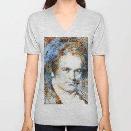 Beethoven Composer Musician Portrait Unisex V-Neck