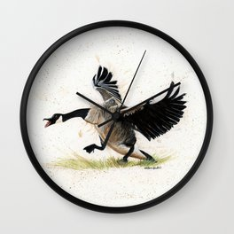 Cranky Goose - watercolor art, bird, animals Wall Clock