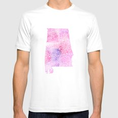 Typographic Alabama - Pink Watercolor map art Mens Fitted Tee White MEDIUM