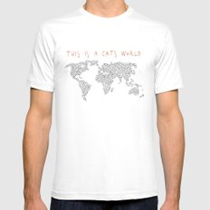 This is a Cat's World MEDIUM White Mens Fitted Tee